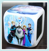 Wholesale hot New Cartoon Movie Frozen PrincessTouch Alarm Clock Fashion LED Colorful Change Digital Clocks Night Light
