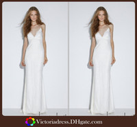 Other Reference Images V-Neck Boho New Beach Summer 2014 Wedding Dresses Sexy Backless Simple Design Floor Length White Marriage Bridal Gowns Fast Shipping