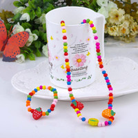 Wood Jewelry Sets  High quality CHILDREN JEWELRY SET GIRL MIXED CUTE WOOD BEADS NECKLACE BRACELET SET New Baby Kids Gifts christmas gift
