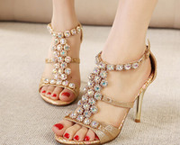 Wholesale 2015 European Women Sandals Luxurious Crystal Sandal Fashion Sexy Party Dancing Shoes Glitter Gold Ankle Strap High Heel Shoes Women Shoes