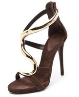 Women Spool Heel Leather hinged stiletto brown sandal S heel mental gold ankle strap boots summer high heels party shoes