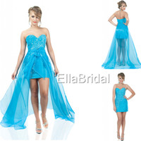 Reference Images Sweetheart Tulle Most-Loved High Low Sexy Empire Prom Dress Aqua Tulle Sweetheart Sleeveless Crystal Beading Bow 314