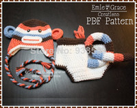 Unisex 0-6Mos Summer Wholesale-Free shipping Sock Monkey Crochet Baby Hat and Diaper Cover Pattern SET - Newborn photography props NEW hotspot!