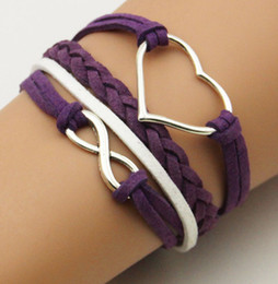 fashion vision heart infinity bracelets pu Leather Bracelet Charms Wristbands model no. hb0001 brand new for women