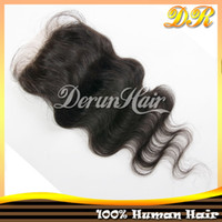 """Brazilian Hair Natural Color Straight Unprocessed Virgin 100% Brazilian Human Hair 10""""-18""""Natural Color (4*4) Silk Base Closure Silky Straight Body Wave Hair Extensions Hair"""