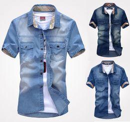 Wholesale K75 New fashion Men s Jeans Casual Slim Stylish Wash Vintage Denim Shirts
