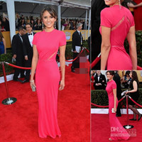 Reference Images Oscar Awards High Neck Elegant Elie Saab 2014 Nina Dobrev Celebrity SAG Awards Red Carpet Dresses High Neck Fuschia Ruffles Backless Evening Pageant Gowns AA19