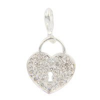 Charms Trendy Lock 2014 Newest Special Beautiful Fashion Crystal silver Lock shape Dangle for Locket 25pcs lot