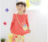Girl factory direct clothing - Factory direct sale han edition in the fall of children s clothes Cotton girls cartoon backpack rabbit t shirt kid s long T shirt GX581