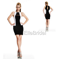Wholesale Charming Sexy Sheath Short Mini Black Satin Crew Neckline Off the Shoulder Sleeveless Beading New Prom Dress