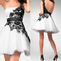 Real Photos tulle Short/Mini Real Image Black White Tulle Homecoming Short Prom Dresses Appliques One Shoulder Mini Cocktail Bridal Party Gowns 2014 Cheap HY Under $50