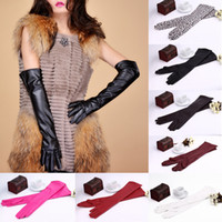Wholesale Winter Autumn Warm Outdoor Women s Soft PU Leather Gloves Long Over The Elbow Gloves Evening Party Gloves GA0027
