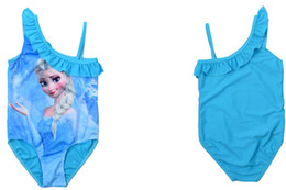 Wholesale Frozen Elsa Princess Blue Swimwear Girls One Piece Fashion Bathing Suits One Shoulder Strap Bodysuit Swimsuit by DHL