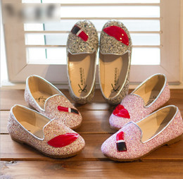 Wholesale 2014 Autumn New Children Korean Style Paillette Princess Shoes Kids Fashion Lip Eyelash Sequins Leisure Girs Shoes Yard J0521