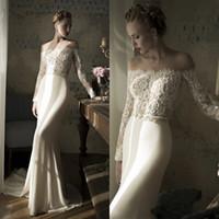 Wholesale 2014 New Arrival Fashion Lace Beaded Lihihod Beach Wedding Dresses Bateau Neck Long Sleeves Ribbon Chapel Train Romantic Bridal Gowns