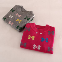 Wholesale Baby Girls Bowknot Cashmere Sweater Gary Red Ruffle O neck Pullover Sweater Long Sleeve Knit For T T SZ0016