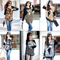 Wholesale 2014 Loose Korean Casual Style Women Blouse Batwing Sleeve Animal Print Knitted Tops T Shirt G0413