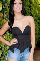 Cheap Polyester woman peplum tops Best Solid Women Strapless peplum tops