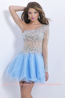 Wholesale Cocktail homecoming Dresses with One Shoulder beads Rhinestone sheer Long sleeves see through bodice Mini short A Line party dresses BL9858