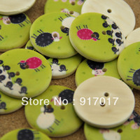 Wholesale mm Mixed painted sheep wood buttons Children s clothes button accessories handmade art L075