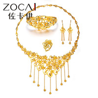 Wholesale ZOCAI BRAND RICH AND HONORED NATURAL REAL K SOLID YELLOW GOLD WEDDING JEWELRY SETS WITH NECKLACE amp EARRING amp RING amp BANGLE