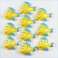 Resin flounder fish - 600pcs The Little Mermaid Friend Flounder Fish Resin Cabochon Flatbacks Flat Back character phone decorations REY342