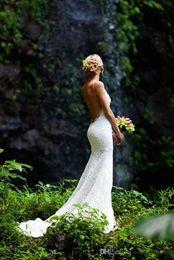 2019 Sexy Spaghetti Mermaid Court Train Lace Backless Wedding Dresses Fashion Summer Garden Beach Lace Wedding Gowns Backless Wedding Dress
