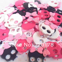 Resin Yes JOY 300pcs lot Mixed colors in stock,1'' Skull Resin Cabochon flat back embellishment, hair bow supplies, headband supplies,REY383