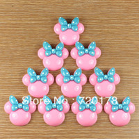Resin Yes JOY Free shipping, Pink Minnie Mouse Blue Bow Resin Flatbacks Flat Back Scrapbooking Girl Hair Bow Center Crafts DIY,REY74