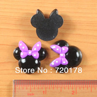 Resin Yes JOY SHIPPING Free,Black Minnie Mouse Purple Bow Resin Cabochons Flatback Flat Back Scrapbooking Hair Bow Center Embellishments,REY37