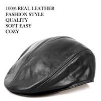 Black golf cap - Men s Fashion Real Leather Ivy gentleman Cap Bonnet Newsboy BIKER Beret Bonnet Cabbie Gatsby Flat Golf Hat Color Option L XL XXL NEW