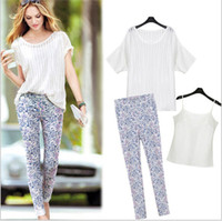 Women Scoop Neck Regular Fashion New European Women Blouse Shirts White Tops Clothing And Long Printing Pants Leggings Casual Suits Sets Sell Garments FB055
