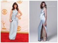 Reference Images Emmy Awards Halter Zooey Deschanel The 65th Emmy Awards Red Carpet Celebrity Dresses 2015 Sliver Stain Deep Splits Halter Ruffles Evening Pageant Gowns AA25