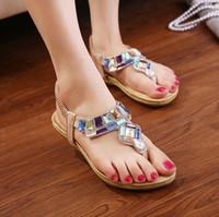 Men Spool Heel Spot 2014 new shoes bohemian family name colorful rhinestone thong style flat sandals