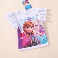 filles vêtements de sport enfants filles chemisiers été enfants filles congelés anna de t shirt manches courtes d'elsa t chemises enfants hauts pour les filles plus récentes
