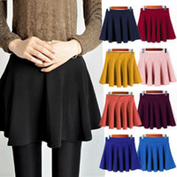 Above Knee pleated skirt - 2015 Newest Fashion Women Ladies Elastic Waist Pleated Flared Skater Mini Skirt dress colorful Qx34 freeshipping