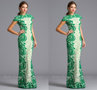 Wholesale 2014 Custom made elegant Chinese Dresses cap sleeves full lace floor length sheath formal evening prom gowns charming Cheongsam ACZ1293L
