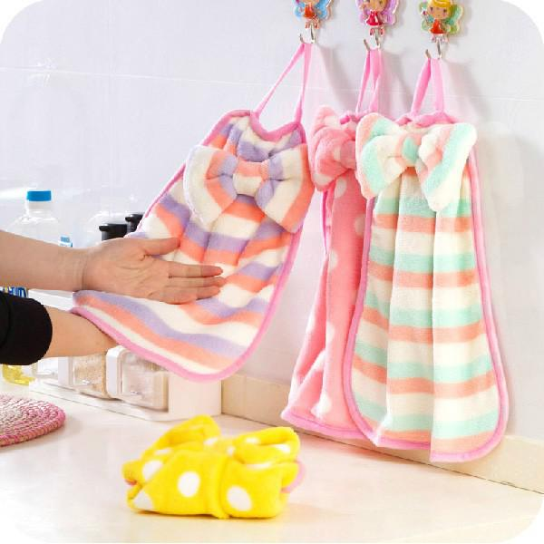 Cute Bow Cartoon Hand Towel Cleaner Soft Washcloth Loop Towel Coral Velvet Facecloth Car Washing