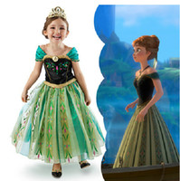 Wholesale in store lowest Frozen Movie princess elsa anna costume halloween cosplay birthday gift party Christmas dresses for kids gothic dress