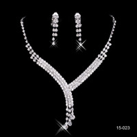 rhinestone chain - 2015 Fashion Cheap In Stock Elegant Wedding Bridal Prom Rhinestone Crystal Jewelry Necklace Earring Set Silver Plated Lobster clasp