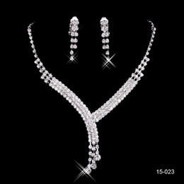 Wholesale 2015 Fashion Cheap In Stock Elegant Wedding Bridal Prom Rhinestone Crystal Jewelry Necklace Earring Set Silver Plated Lobster clasp