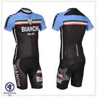 Wholesale Newest bianchi cycling jersey short sleeves cycling bib shorts amp shots without bib black and blue color size XS XL