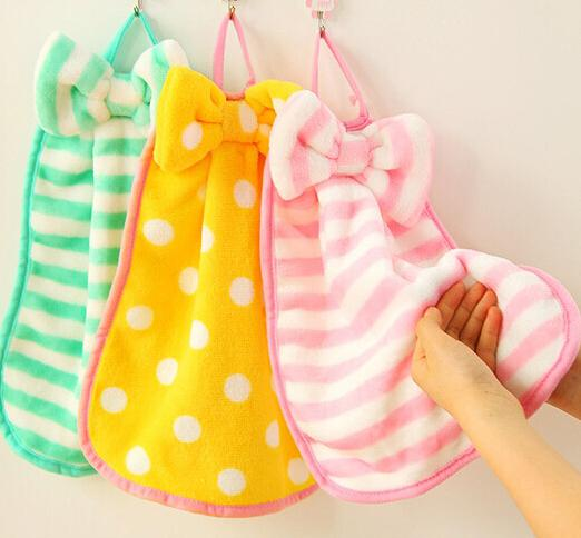 Cute Bow Hand Towel Cleaner Soft Washcloth Loop Towel Coral Velvet Facecloth Car Washing
