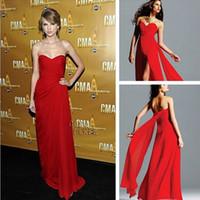 Estilo favorito de hombro damas gasa roja vestido de alfombra nuevo diseño de la marca piso de longitud