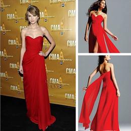 Descuento alfombra roja del hombro fuera Estilo favorito de hombro damas gasa roja vestido de alfombra nuevo diseño de la marca piso de longitud