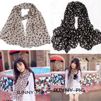 dgh - Fashion Women Velvet Chiffon Scarves Soft Lady Cat Scarf Shawl With Graffiti Style DGH