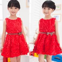 TuTu Summer A-Line Big Discount Kids Christmas Dresses Girls Red Rose Dress With Belt Baby New Year Flower Cotton & Polyester Tutu Dress Children Dress Skirt