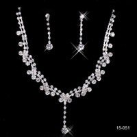 Wholesale 2015 Fashion Cheap In Stock Elegant Wedding Bridal Prom Rhinestone Pearlsl Jewelry Necklace Earring Set Silver Plated Lobster clasp