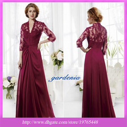 Wholesale In Stock Cheap Fast Delivery Purple Lace Long Mother of the Bride Dresses V neck Long sleeve Floor Length Chiffion Mother Evening Dress
