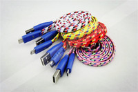 100cm Universal  1M Flat Micro Usb Fabric Braided Smiling Face Usb Cable For Samaung htc Sony Ericsson LG 50pcs lot